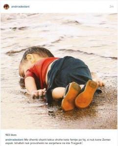 Andrra Destani mesazh prekës për fëmijën sirian