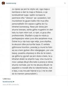 Teuta Krasniqi: Mos prekni në moralin tim, mos shpifni