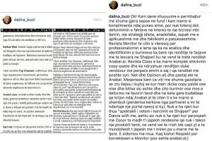 Dalina Buzi sulmon Alketa Vejsiu
