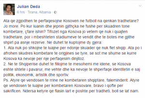 Julian Deda në mbrojtje të futbollistëve kosovarë: Ata nuk janë tradhtarë