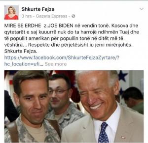 Shkurte Fejza i ka disa fjalë për Joe Biden
