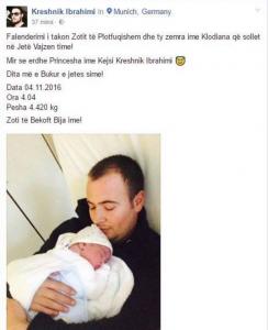 Kreshnik Ibrahimit i lind vajzë: Kështu e pagëzoi princeshën