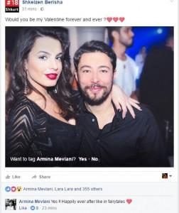 Shkëlzen Berisha i propozon martesë Arminës për Shën Valentin