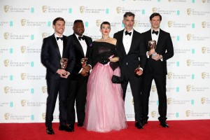 LONDON, ENGLAND - FEBRUARY 12: (L-R) British Short Film Award winners Shpat Deda, Afolabi Kuti, Arta Dobroshi, Daniel Mulloy and Scott ODonnell pose in the winners room during the 70th EE British Academy Film Awards (BAFTA) at Royal Albert Hall on February 12, 2017 in London, England.  (Photo by Chris Jackson/Getty Images)