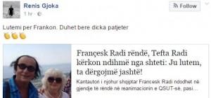 Françesk Radi në gjendje të rëndë, reagojnë artistët